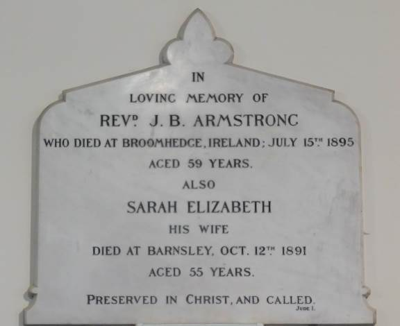 Memorial commemorating Rev JB Armstrong, a minister at Bethesda New Connexional Chapel, Gateshead.