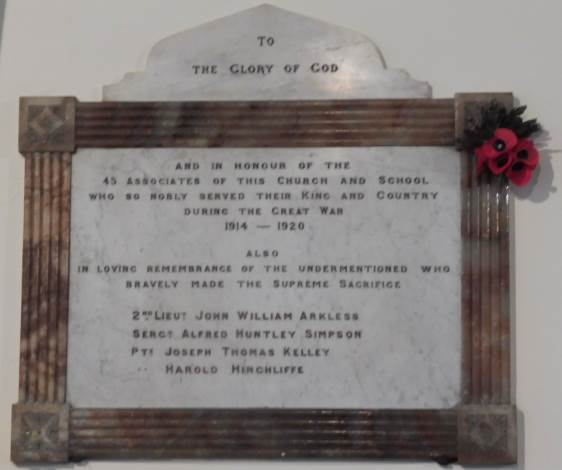 Great War Memorial commemorating the soldiers killed in action from the congregation of Whitehall Road Methodist Church, Bensham, Gateshead.