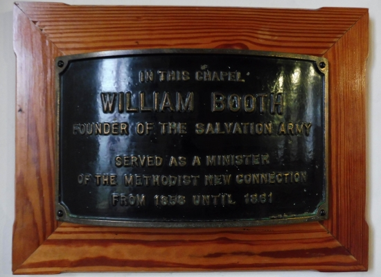 Plaque commemorating William Booth, founder of the Salvation Army, was the minister at Bethesda New Connexion Chapel, Gateshead.