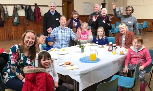 Enjoying lunch at Whitehall Road Messy Church, Bensham, Gateshead