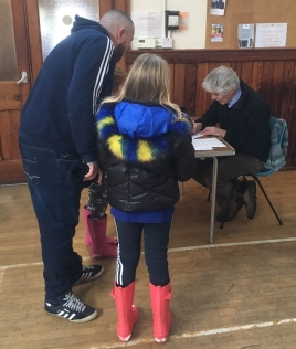 Registering for Messy Church at Whitehall Road Methodist Church, Bensham, Gateshead