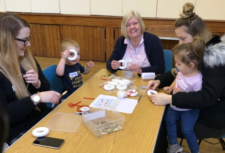 Children taking part in a variety of crafts at Whitehall Road Messy Church, Bensham, Gateshead