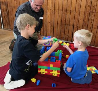 Playing with Lego at Whitehall Road Messy Church, Bensham, Gateshead