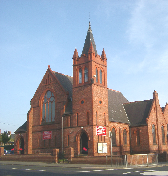 Whitehall Road Methodist Church in Bensham, Gateshead, as seen from the junction with Coatsworth Road.