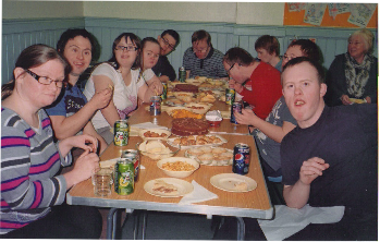Members of the Downs Syndrome Assoication enjoying a meal at Whitehall Road Methodist Church in Bensham, Gateshead.