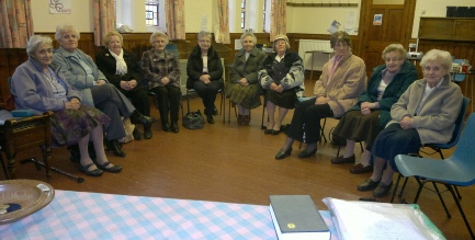 Some of the members of the Women's Fellowship, in the Lounge of Whitehall Road Methodist Church in Bensham, Gateshead.